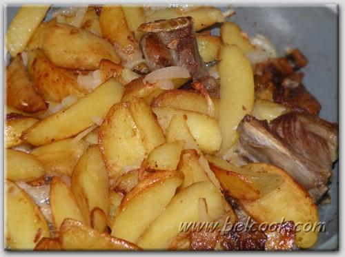 жареная картошка с луком и салом рецепт с фото
